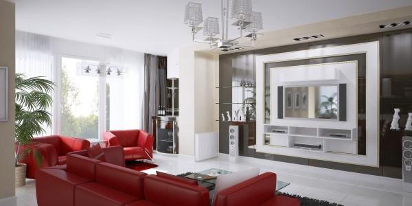 Матовый белый потолок натяжной в гостиной