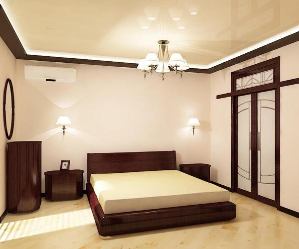 потолок натяжной фото в спальне