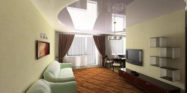Сиреневый натяжной глянцевый потолок в гостиной