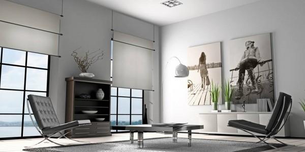 Белый лаковый натяжной потолок в гостиной