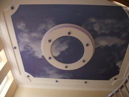 Фотопечать натяжного потолка облака
