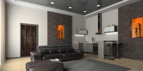 Серый металик потолок натяжной в гостиной