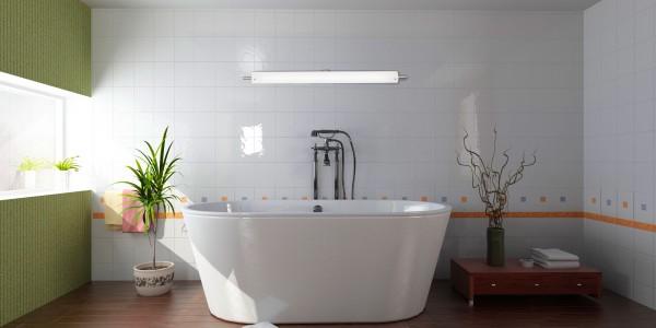 Синий натяжной потолок в ванной