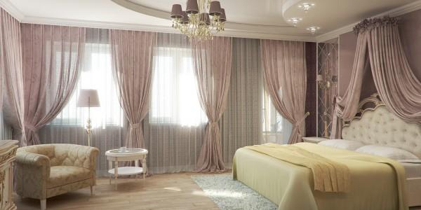 Спальня натяжной потолок белый глянцевый