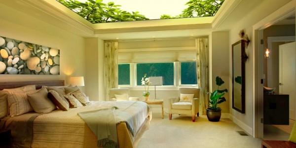 Фотопечать натяжной потолок спальня